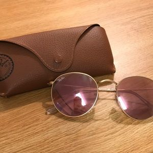 Round Pink Reflective Ray-Ban Sunglasses